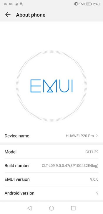 EMUI 9 for Huawei P20 and P20 Pro Android 9.0 Pie