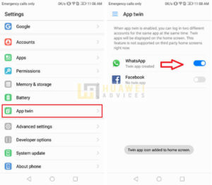 Run two WhatsApp accounts huawei App Twin copy