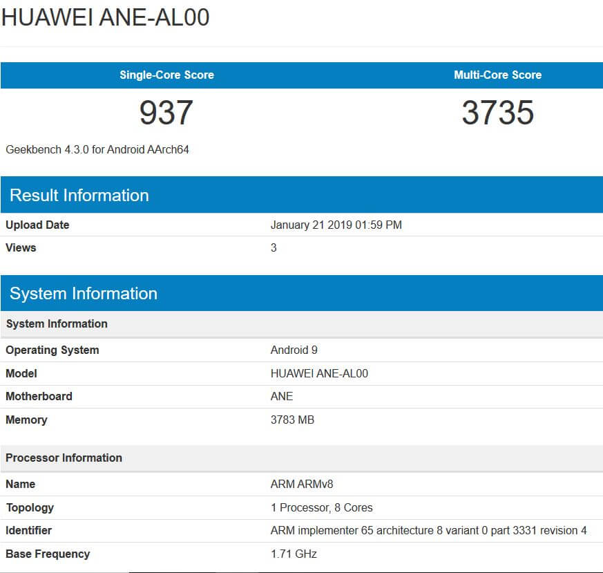 huawei p20 lite android pie geekbench