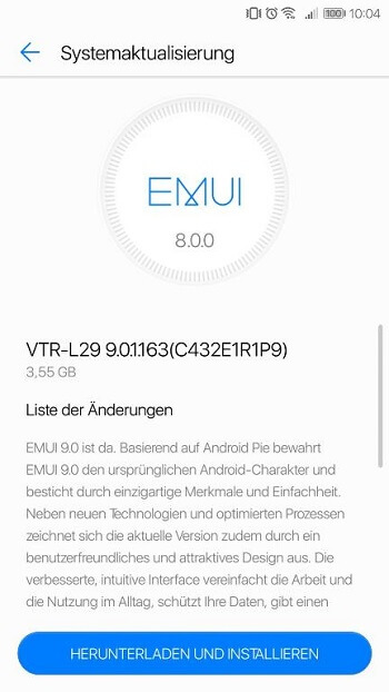 Huawei P10 Android 9 Pie updates