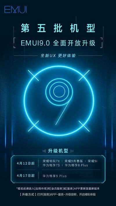 EMUI 9.0 for Honor 7X 9i Enjoy 7S Enjoy 8 Plus 9 Plus